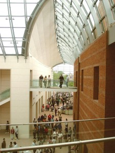 The soaring lobby of the Peabody Essex Museum